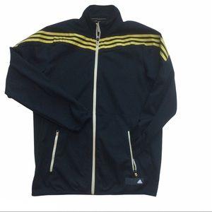 ADIDAS full zip warm up jacket black with yellow